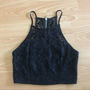 Black cropped halter top